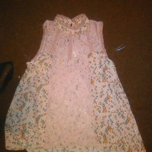 NWOT  lace tank with lace middle panel